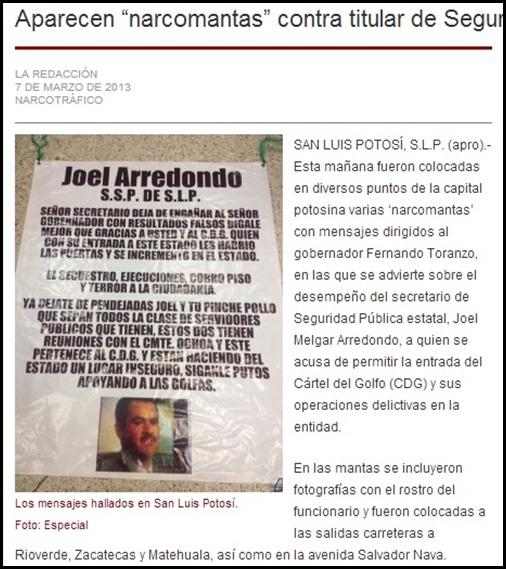 Aparecen Narco Mantas contra Joel Melgar Arredondo