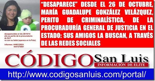 """""""DESAPARECE"""" DESDE EL 26 DE OCTUBRE, MARÍA GUADALUPE GONZÁLEZ VELÁZQUEZ, PERITO DE LA PROCURADURÍA GENERAL DE JUSTICIA EN EL ESTADO"""