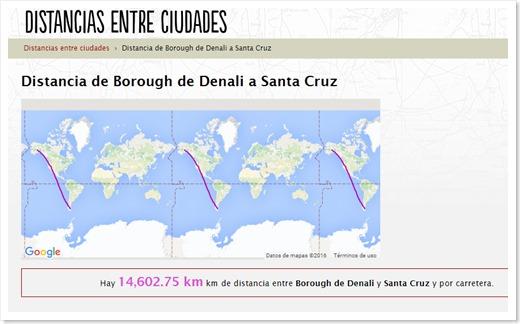 Distancia Denali-santa Cruz