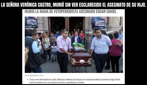 LA SEÑORA VERÓNICA CASTRO, MURIÓ SIN VER ESCLARECIDO EL ASESINATO DE SU HIJO.