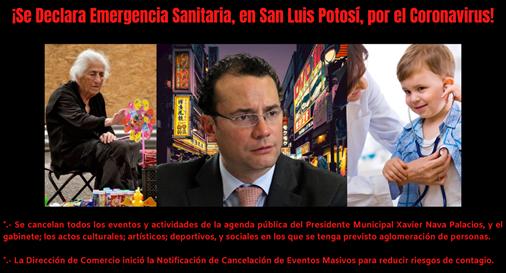 Se declara la emergencia sanitaria en San Luis Potosí, por el coronavirus, y el Gobierno Municipal decretó las primeras medidas preventivas