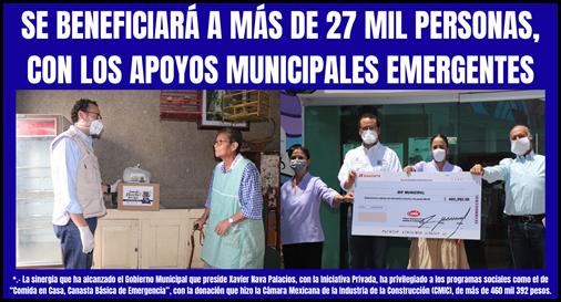 SE BENEFICIARÁ A MÁS DE 27 MIL PERSONAS, CON LOS APOYOS MUNICIPALES EMERGENTES