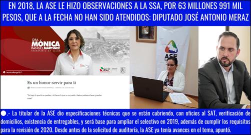 EN 2018, LA ASE LE HIZO OBSERVACIONES A LA SSA, POR 63 MILLONES 991 MIL PESOS, QUE A LA FECHA NO HAN SIDO ATENDIDOS_ DIPUTADO JOSÉ ANTONIO MERAZ
