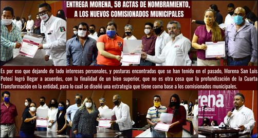 ENTREGA MORENA, 58 ACTAS DE NOMBRAMIENTO, A LOS NUEVOS COMISIONADOS MUNICIPALES