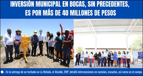 INVERSIÓN MUNICIPAL EN BOCAS, SIN PRECEDENTES, ES POR MÁS DE 40 MILLONES DE PESOS