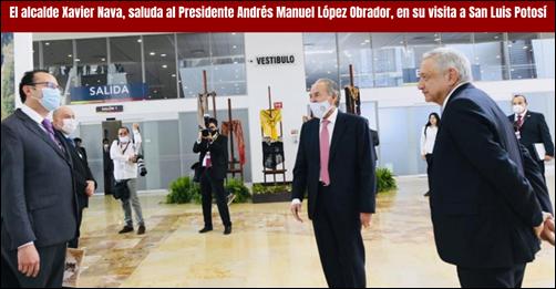 El alcalde Xavier Nava saluda al Presidente Andrés Manuel López Obrador en su visita a SLP